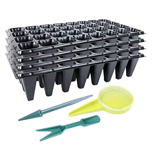 Migaven Semilleros de Germinacion, 4Pcs 32 Agujeros Bandejas de Inicio de Siembra Y 3Pcs Jardín Herramientas de Mano Conjunto de Condensador de Trasplantador Perforador para Plantas Cultivar