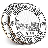 Posavasos redondos de vinilo de Destination Ltd (juego de 2) BW – Buenos Aires Argentina Travel Drink Gloss Protector de mesa para cualquier tipo de mesa #39893
