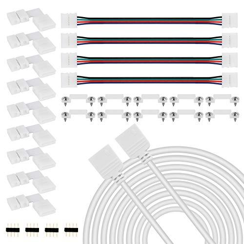 YAOBLUESEA LED Streifen Verbinder, LED Strip Zubehör Verlängerung Eckverbinder Befestigungsclips Verteiler Streifen Kabel Set für 10mm 4 Polig RGB 5050 LED Streifen