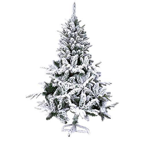ZLJ 90cm Lighted Snow/Easy Assembly Flocked Artificial Christmas Tree Hinged Christmas Tree Decorations with LED Lights and Ornaments Green Metal Stand 90 (35 inch)