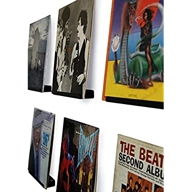 Hudson Hi-Fi Wall Mount Vinyl Record Display Shelf – Display Your Favorite LP Records in Style. Black Satin Finished Steel, Made in USA by One pack |