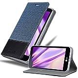 Cadorabo Hülle für LG X Screen - Hülle in DUNKEL BLAU SCHWARZ – Handyhülle mit Standfunktion & Kartenfach im Stoff Design - Case Cover Schutzhülle Etui Tasche Book