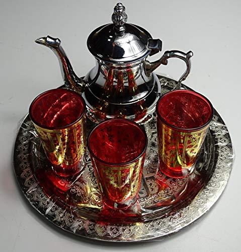 Tradizionale set di te marroqui; Araba 3Bicchieri di vetro,1teiera, 1vassoio Brunito da 25cm di Diametro.