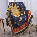 CUEERBOT Sun and Moon Stars Throw Blanket Celestial Tapestry Double-Sided Reversible Woven Cotton Home Decor Bedding Chair Couch Recliner Cover Loveseat Rug Tassels Blue Yellow