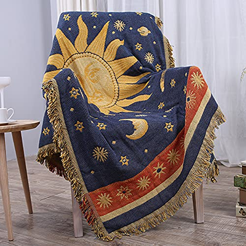 CUEERBOT Manta con diseño de estrellas de sol y luna, doble cara, reversible, de algodón, para decoración del hogar, cama, silla, sillón reclinable, alfombra de sofá con borlas, azul y amarillo