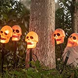 EAMBRITE Halloween Decorations Outdoor 4PK 20L Skulls Pathway Markers Lights End-connectable Outdoor Garden Creepy Stake Light for Halloween Party Decoration