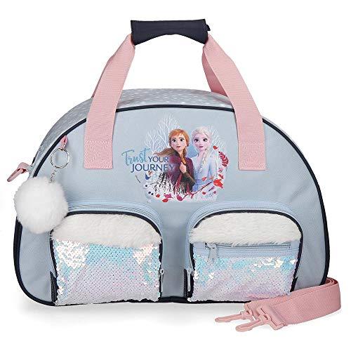 Disney Frozen La Reine des Neiges Trust your journey Sac de Voyage Bleu 35x21x11,5 cms Polyester 27.72L
