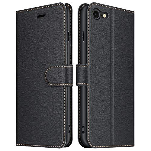ELESNOW Hülle für iPhone SE 2020 / iPhone 7 / iPhone 8, Premium Leder Flip Wallet Schutzhülle Tasche Handyhülle für Apple iPhone 7 / iPhone 8 / iPhone SE 2020 (Schwarz)