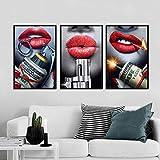 Mode Toile Art Sexy Rouge Lèvres Pistolet À L'argent Peinture Moderne Mur Art Photos Pour Salon Décoration De La Maison Posters...