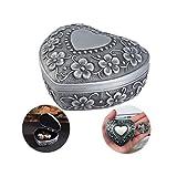 Ziyero Joyero Vintage en Forma de corazón Joyero Plata en Forma de corazón joyero de Metal Tallado Joyero de aleación en Forma de corazón Adecuado para decoración del hogar, Bodas, Regalos, etc