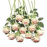 Decpro 12 Piezas de Rosas Artificiales, Flor de Seda de un Solo Tallo Largo de 19.7'' para Ramos de Novia, decoración de Hotel de Oficina, centros de Mesa, arreglos Florales(Rosa Claro)