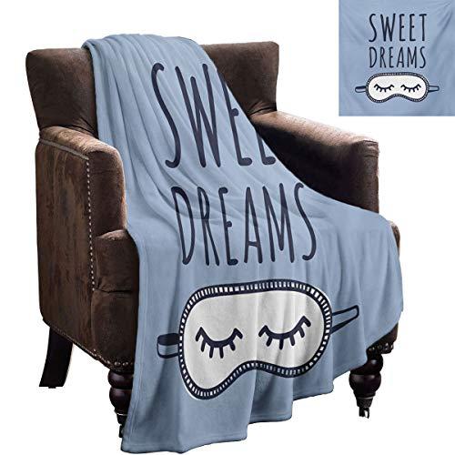 Sweet Dreams Manta estampada dibujada a mano con tema de dormir, ilustración, garabatear, arreglo simplista para amigos, 90 x 70 pulgadas, azul pizarra azul oscuro