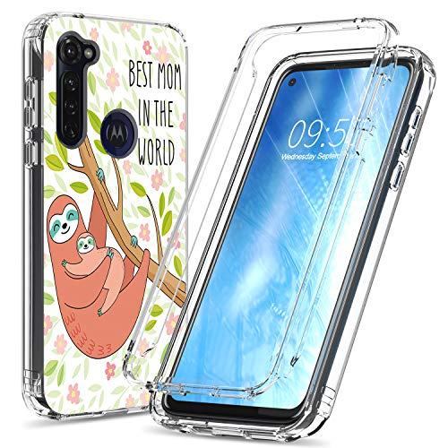 Moto G Stylus Case, BEROSET Dual Layer Hard PC Bumper + Soft TPU Cover Shockproof High Impact Protective Clear Phone Case for Motorola Moto G Stylus 2020 - Best Mom in The World Sloth
