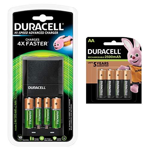 Duracell - Cargador de alta velocidad con 6 pilas AA y 2 AAA