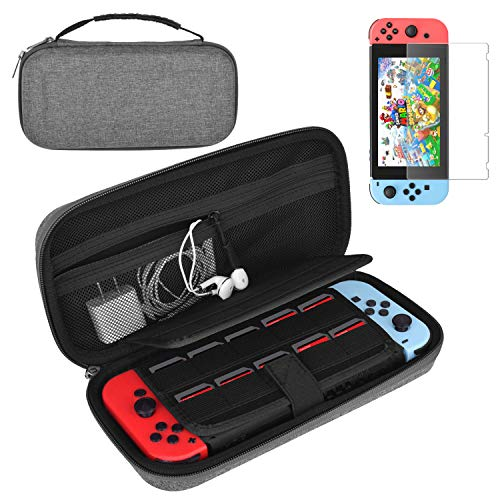 Wmythk Nintendo Switch Case Gray Protective Hard Portable Travel Bag with Tempered Glass Screen Protector-for Nintendo Switch Console & Accessories Protective