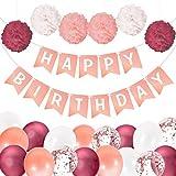 Geburtstagsdeko Frauen und Mädchen   Inkl. Happy Birthday Girlande, Pompoms und Luftballons   Happy Birthday Deko   Deko Geburtstag   Deko Kindergeburtstag   Geburtstagsdeko Rosegold