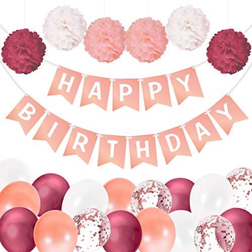 Decoraciones de Cumpleaños para Mujeres y Niñas | Pancarta de Feliz Cumpleaños, Pompones, Globos y Cintas | Guirnalda y Pancarta de Cumpleaños | Decoraciones de Cumpleaños Rosa Dorado y Borgoña