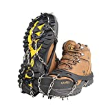 EJEAS Ice Cleats Crampons Traction Snow Grips Grippers with 18 Spikes Safe Protect for Women/Men Walking, Jogging, Climbing and Hiking on Snow, Ice, Mud, Sand and Wet Grass (Black(18 Spikes), M)
