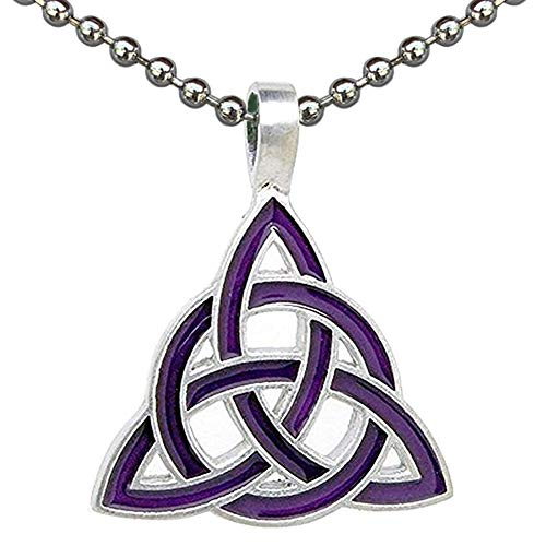 Pagan Wiccan Jewelry Magic Purple Triquetra Celtic Trinity Knot Wicca Witch Pewter pendant men's women's unisex necklace Amulet Charm for men w Silver Ball Chain