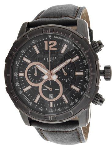 Guess W19006G2 - Reloj analógico para Caballero de Cuero Resistente al Agua marrón