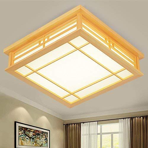 LICIDI Lampada da soffitto in Stile Giapponese a LED Lampadina in Legno massello Tatami (450mm * 450mm * 120mm), Camera da Letto Balcone Legno Luce Calda