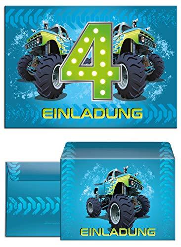12 Einladungskarten incl. 12 Umschläge 4. Geburtstag Kinder Junge Monstertruck blau / Monster-Truck / Auto / Einladungen zum vierten Kindergeburtstag für Jungen