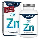 Zinc 25mg - 400 Comprimés Végétaliens (13 Mois) - Qualité Supérieure 25mg de Zinc Élémentaire (Gluconate de Zinc Pur) - Hautament Biodisponible - Complément alimentaire de GloryFeel
