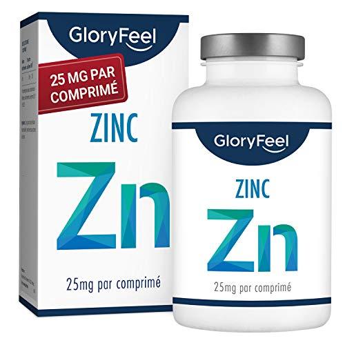GloryFeel Zinc 25mg 400 Comprimés - Zinc Vegan et Hautement dosé - 25mg de Zinc élémentaire (Gluconate de Zinc Pur), Traitement de l'acné, Sans Lactose et Gluten