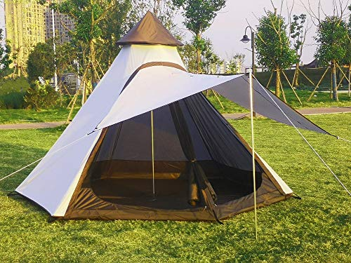 Outdoor 4 Season Double Layers 12FTx10FTx8FT Yurt Tent Camping Teepee Tent Waterproof Adult Tipi Tents for Family Camping with 3-4 Person. (White...
