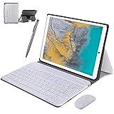 4G LTE Tablet Touchscreen 10 Zoll, Android 9.0 2 in 1 Tablet mit Tastatur 4 GB RAM und 64 GB ROM, 8000 mAh 5.0 MP 8.0 MP HD Kamera, Dual-SIM, WiFi, Bluetooth, GPS, OTG, Typ C silber