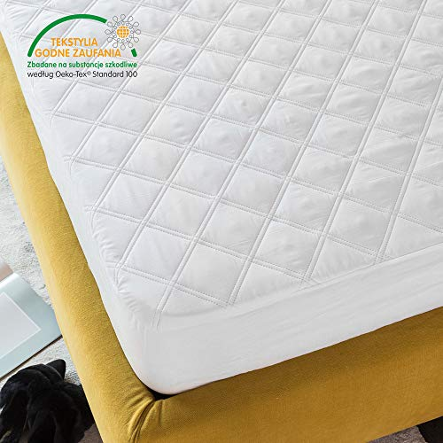 Tofern Mattress Protector Quality Sanded Fabric Quilted Fitted Sheet Waterproof Breathable Dust Bacteria Proof Anti-mite Silent Terry Sheet, White 160 x 200cm