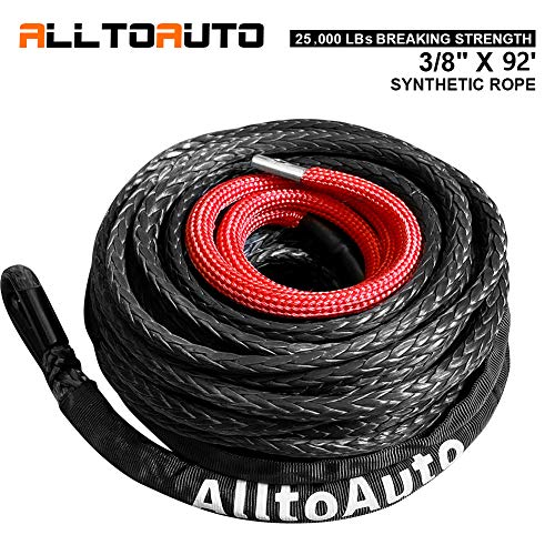 """AlltoAuto Synthetic Winch Rope, 3/8"""" x 92'-25000 LBs Synthetic Winch Rope Line Cable with Protective Sleeve for Truck 4WD Off-Road Vehicle Winch Accessory"""