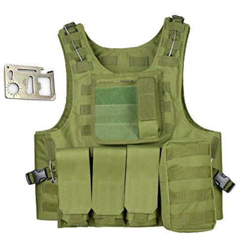 COZYJIA Tactical Vest,Military Tactical Army Polyester Waistcoat Multi-Pocketed Vest Jacket for Outdoor Camping Hunting Fishing Hiking Airsoft War Game (Green)
