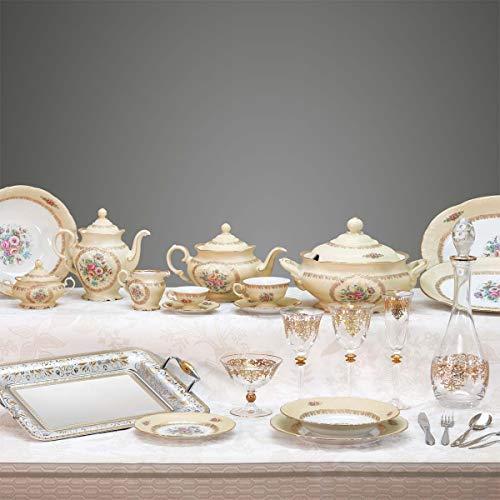 MARTICA Completo Piatti e Bicchieri dallo Stile Classico con Decoro Floreale Crema - Diana