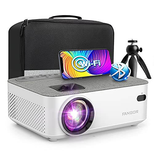 Mini WiFi Projector with Bluetooth - 1080P Supported Outdoor Movie Projector for Home Theater, FANGOR Portable Video Projector with HDMI USB VGA AV Interfaces [Tripod and Carry Bag Included]