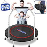 tomser 40'' Silent Foldable Trampoline, Exercise Fitness Trampoline with Higher 49' Adjustable...