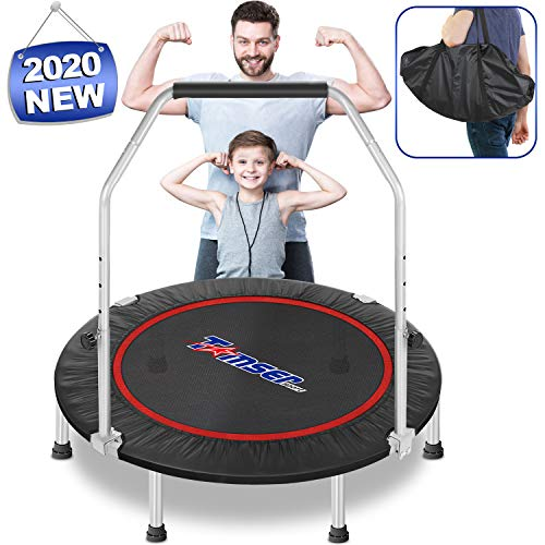 tomser 43'' Silent Foldable Trampoline, Exercise Fitness Trampoline with Higher 50' Adjustable Handrail Fitness Rebounder with Carry Bag Mini Trampoline for Kids Adults Indoor/Garden Max Load 400lbs