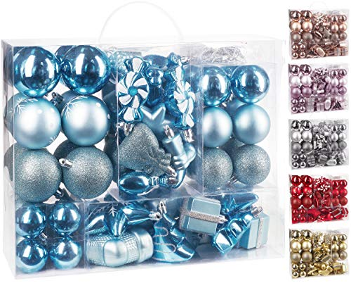 BRUBAKER 77-Piece Christmas Tree Ornaments - Shatterproof - Light Blue / Silver