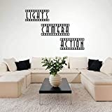 Classic Art Wall Sticker Lights Camera Action Home Theater Movie Room Wall Decal Vinyl Theater Room Kids Room Home Decor Finish Size 86X58Cm
