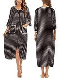 Veseacky Women's Plus Size Nightgowns Full Length Zip-Front Stripe Bath Robe with Pockets Black, 2XL