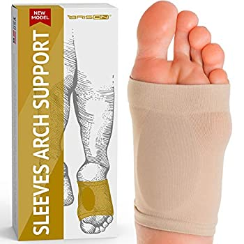 Metatarsal Compression Arch Support Sleeve Cushioned Arch Support Soft Elastic Reusable Gel Pad Fabric Arch Socks for Flat Foot Pain Relief Plantar Fasciitis Heel Spurs Women Men Beige