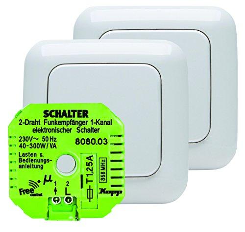 Kopp 822415028 Funk-Set Wechselschaltung Free-control Standard Neue Generation, alpin-weiß
