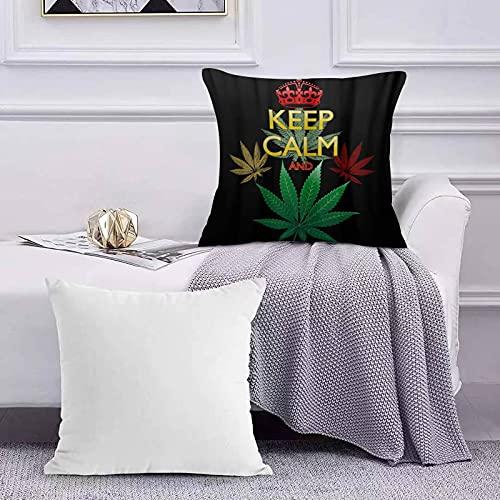 Funda de Cojín Funda de Almohada del Hogar Mantener la Calma y la Hoja de Marihuana Sofá Throw Cojín Almohada Caso de la Cubierta para 45x45cm