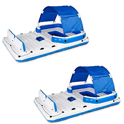 Bestway CoolerZ Tropical Breeze 6 Person Floating Lake Raft Lounge (2 Pack)