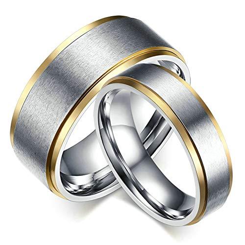 SonMo Paar Ringe Einfach Zweifarbig Bicolor Matt Gebürstet Hochzeit Ring für Paar Verlobungsring Edelstahl für Herren 6Mm Silber Größe 67 (21.3)