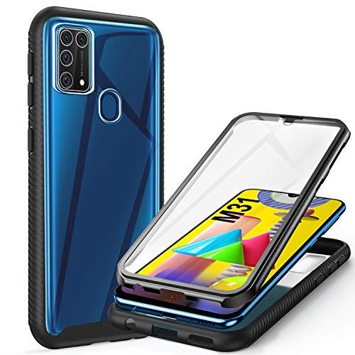ivencase Samsung Galaxy M31 Hülle, Stoßfest Cover M31 360 Grad vollschutz Handyhülle Rugged Schutzhülle M31 mit eingebautem Bildschirmschutz Stürzen Stößen Handyhülle, Schwarz