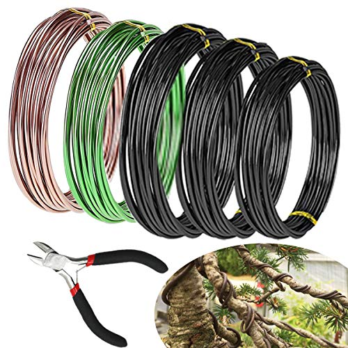 Haploon 5 Roll Bonsai Wire 165 Feet Total Tree Training Wires with Cutter Bonsai Wire Starter Tool Kit Anodized Aluminum Wire 1/1.5/2.0 mm Training Wire for Holding Tree Bonsai Branches