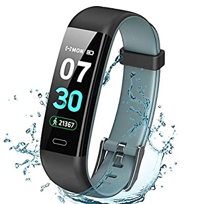 K-berho Fitness Tracker Activity Tracker with Heart Rate Monitor?Step Counter Watch, Sleep Monitor Tracker?Pedometer Watch?Calorie Counter Watch Waterproof?Smart Watch for iOS and Android (black&gray)