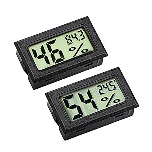 ZHITING Hygrometer-Messung, Mini-LCD-Digitalmonitor, Außentemperatur, Feuchtigkeitsmesser für Humidore, Gewächshaus und Keller, Zellenschrank, gemessen in Fahrenheit (° F) (2er-Pack)