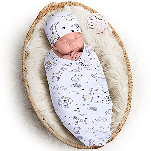 Baby Swaddle Blanket Hat Set for 0-6 Months Boy Girl, Elstey Stretchy Newborn Receiving Blanket, Nursery Swaddling Blankets for Infant, Soft Swaddles Wrap for Babies, Photography Props Gift (Animal)